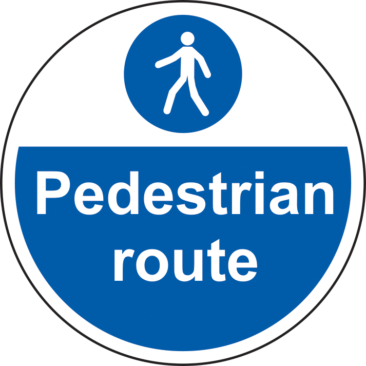 400mm diameterPedestrian Route Floor Graphic sign