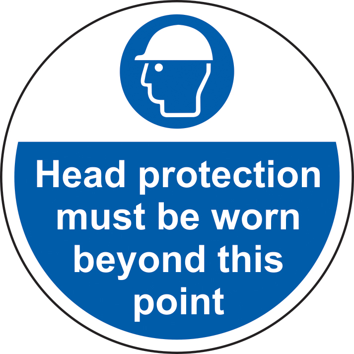 400mm diameterHead protection must be worn beyond Floor Graphic sign