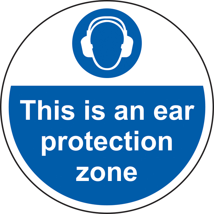 400mm diameterThis is an ear protection zone Floor Graphic sign