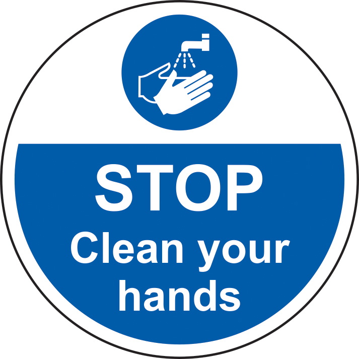 400mm diameterSTOP Clean your hands Floor Graphic sign