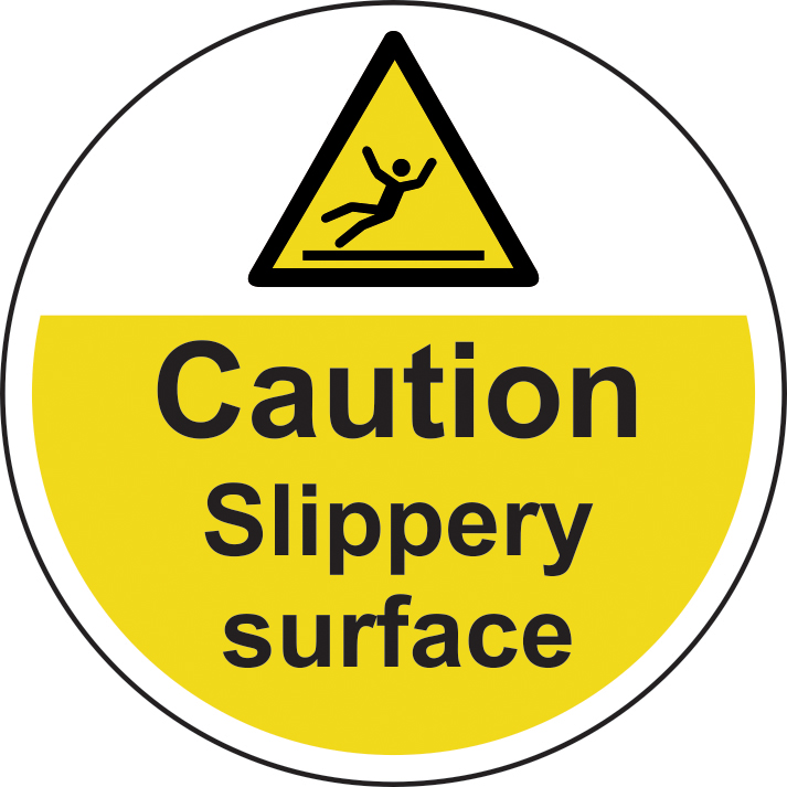 400mm diameterCaution Slippery surface Floor Graphic sign