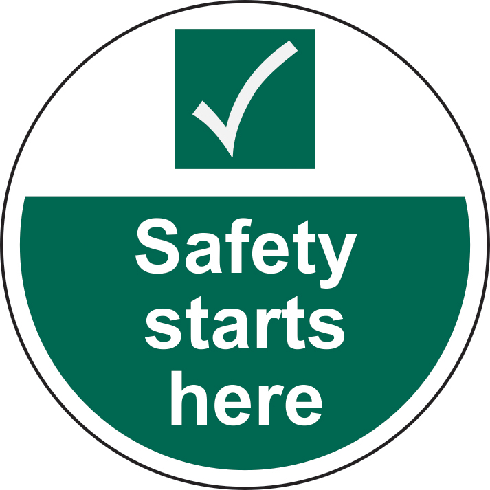 400mm diameterSite safety starts here Floor Graphic sign