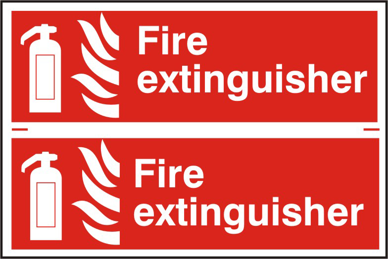 Fire extinguisher sign 1mm rigid PVC self adhesive backing 300 x 200mm sign