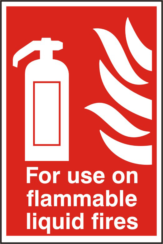 For use on all flammable liquid fires sign 1mm rigid PVC self adhesive backing 200 x 300mm sign