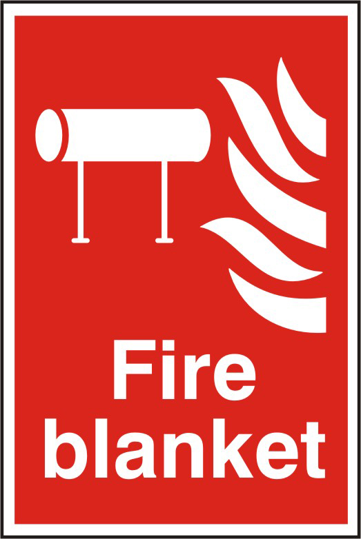 Fire blanket sign 1mm rigid PVC self adhesive backing 200 x 300mm sign