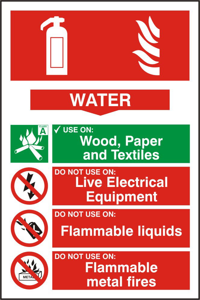 Fire extinguisher composite sign Water sign 1mm rigid PVC self adhesive backing 200 x 300mm sign