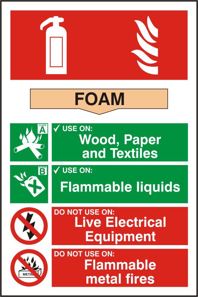 Fire extinguisher composite sign Foam sign 1mm rigid PVC self adhesive backing 200 x 300mm sign