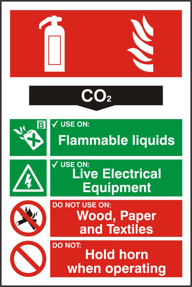 Fire extinguisher composite sign CO2 sign 1mm rigid PVC self adhesive backing 200 x 300mm sign
