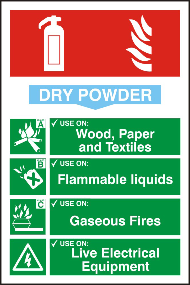 Fire extinguisher composite sign Dry powder sign 1mm rigid PVC self adhesive backing 200 x 300mm sign