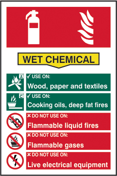 Fire extinguisher composite sign Wet chemical sign 1mm rigid PVC self adhesive backing 200 x 300mm sign