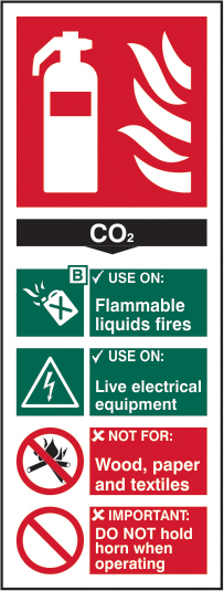 Fire extinguisher composite sign CO2 sign 1mm rigid PVC self adhesive backing 75 x 200mm sign