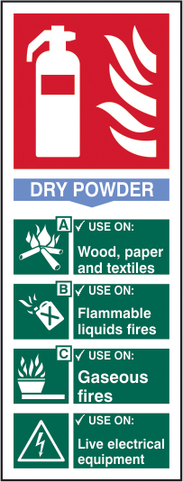 Fire extinguisher composite sign Dry powder sign 1mm rigid PVC self adhesive backing 75 x 200mm sign