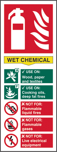 Fire extinguisher composite sign Wet chemical sign 1mm rigid PVC self adhesive backing 75 x 200mm sign