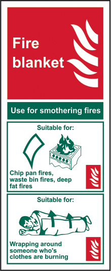 Fire blanket sign 1mm rigid PVC self adhesive backing 75 x 200mm sign