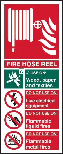 Fire hose reel sign 1mm rigid PVC self adhesive backing 75 x 200mm sign
