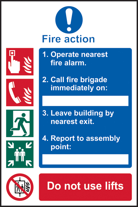 Fire action procedure self adhesive vinyl 200 x 300mm sign