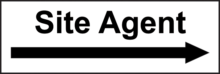 Site Agent Arrow right self adhesive vinyl 300 x 100mm sign