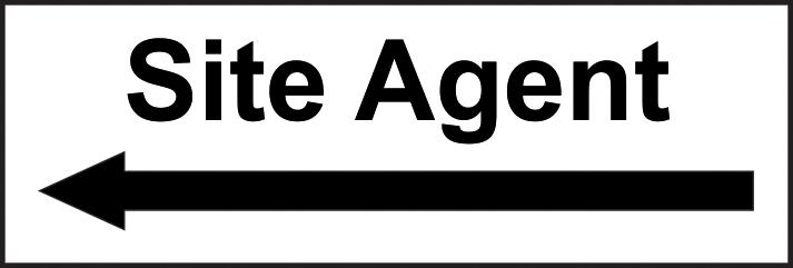 Site Agent arrow left self adhesive vinyl 300 x 100mm sign