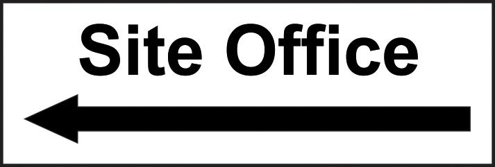 Site Office arrow left self adhesive vinyl 300 x 100mm sign