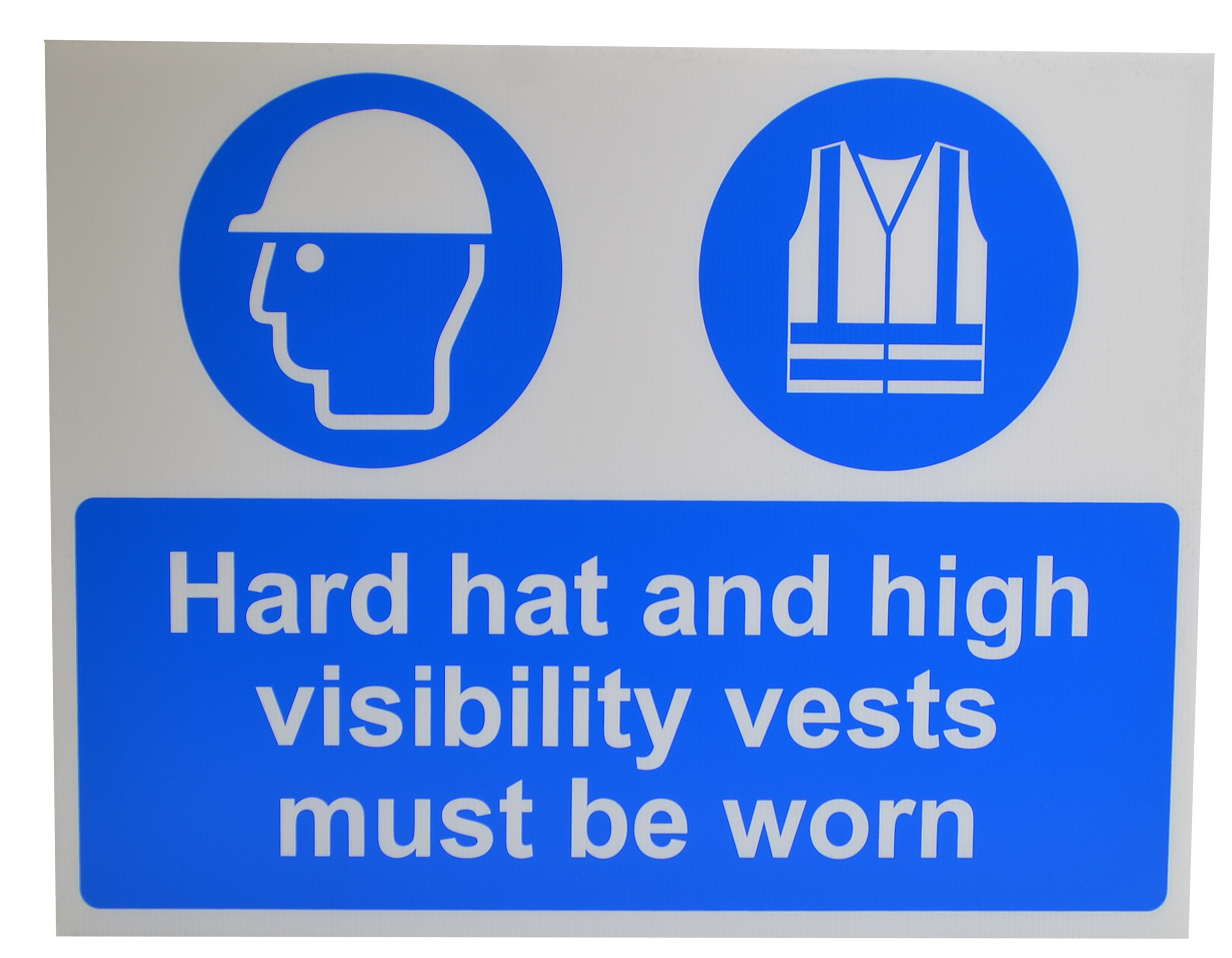 Hard Hat & High Visibiltiy vests must be worn sign lightweight corrugated plastic 600 x 450mm sign