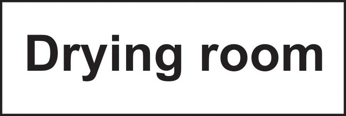 Drying room sign 1mm rigid plastic 300 x 100mm sign