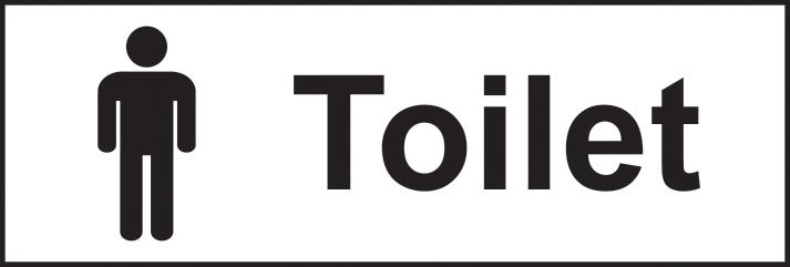Toilet Gentlemen sign 1mm rigid plastic 300 x 100mm sign