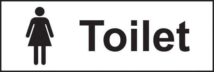 Toilet Ladies sign 1mm rigid plastic 300 x 100mm sign