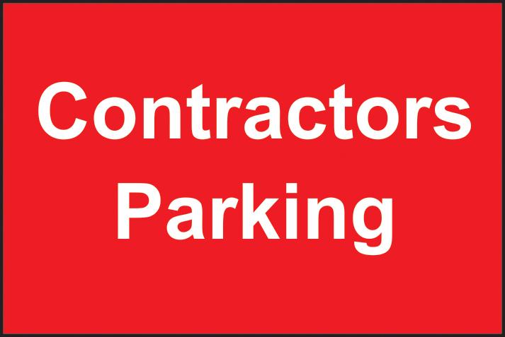 Contractors Parking sign 1mm rigid plastic 600 x 400mm sign
