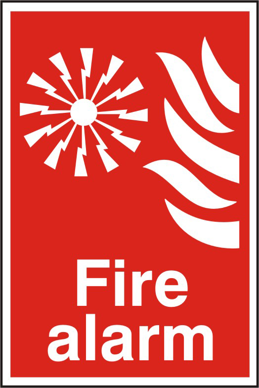 Fire alarm sign 1mm rigid PVC self adhesive backing 200 x 300mm sign