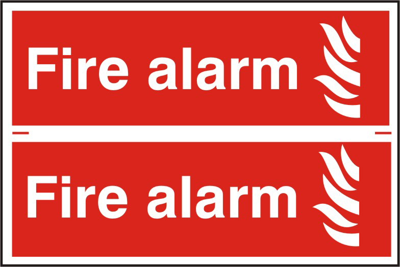 Fire alarm sign 1mm rigid PVC self adhesive backing 300 x 200mm sign
