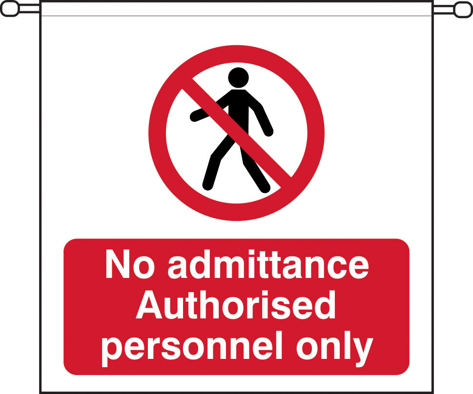 No admittance Authorised personnel only sign barrier tape 760 x 760mm sign