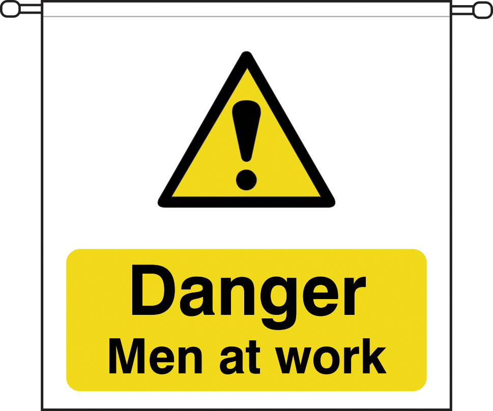 danger Men at work sign barrier tape 760 x 760mm sign