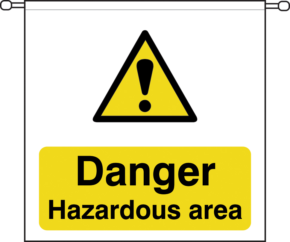 danger Hazardous area sign barrier tape 760 x 760mm sign