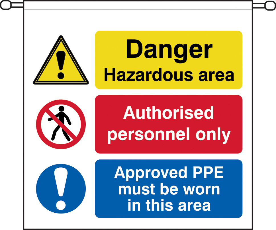 danger Hazardous area Authorised personnel only barrier tape 760 x 760mm sign