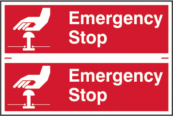 Emergency stop sign 1mm rigid PVC self adhesive backing 300 x 200mm sign
