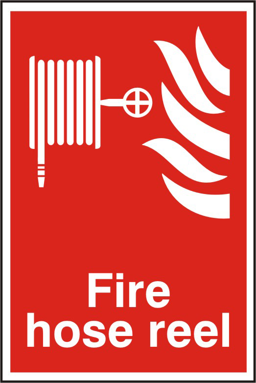 Fire hose reel sign 1mm rigid PVC self adhesive backing 200 x 300mm sign