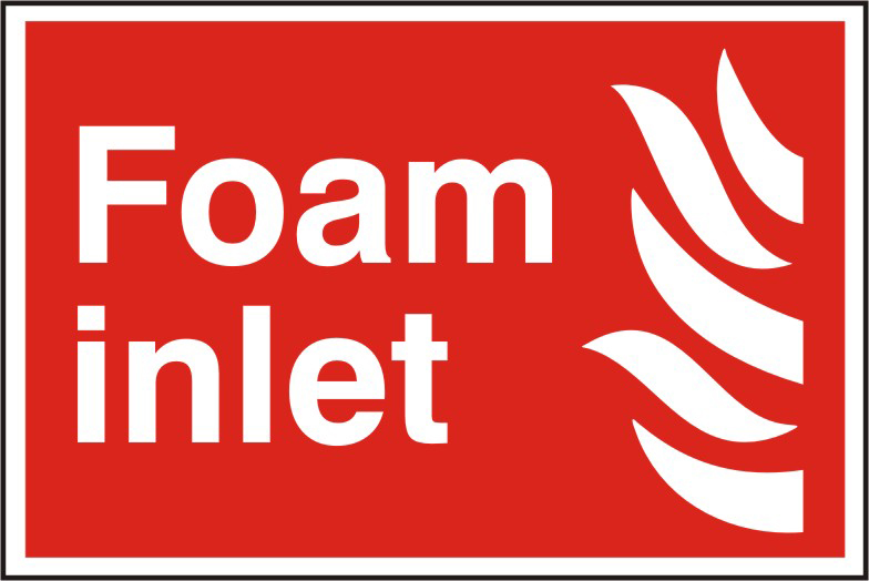 Foam inlet sign 1mm rigid PVC self adhesive backing 300 x 200mm sign