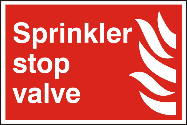 Sprinkler stop valve sign 1mm rigid PVC self adhesive backing 300 x 200mm sign