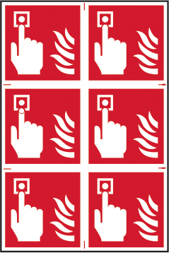 Fire alarm symbol sign 1mm rigid PVC self adhesive backing 200 x 300mm sign