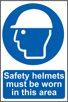 Safety helmets must be worn in this area sign 1mm rigid PVC self adhesive backing 400 x 600mm sign
