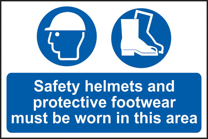 Safety helmets and protective footwear must be worn in this area sign 1mm rigid PVC self adhesive backing 600 x 400mm sign