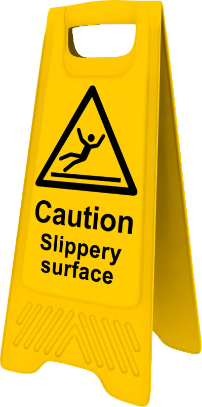 Heavy Duty A Board sign Caution Slippery surface sign
