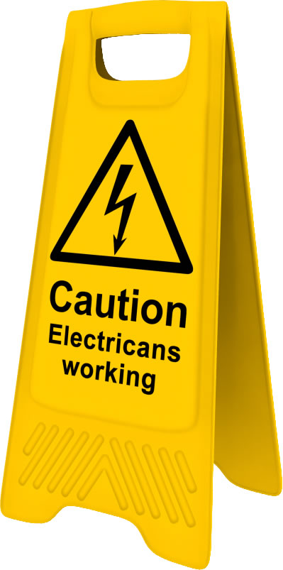 Heavy Duty A Board sign Caution Electricians working sign