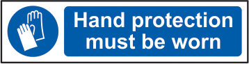 Hand protection must be worn sign 1mm rigid PVC self adhesive backing 200 x 50mm sign