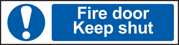Fire door Keep shut sign 1mm rigid PVC self adhesive backing 200 x 50mm sign
