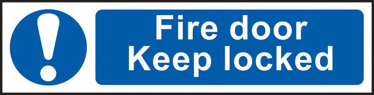 Fire door Keep locked sign 1mm rigid PVC self adhesive backing 200 x 50mm sign