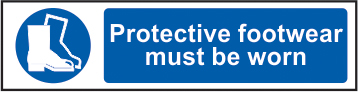 Protective footwear must be worn sign 1mm rigid PVC self adhesive backing 200 x 50mm sign