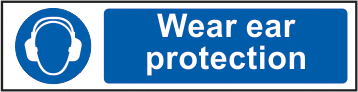 Wear ear protection sign 1mm rigid PVC self adhesive backing 200 x 50mm sign