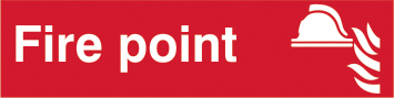 Fire point sign 1mm rigid PVC self adhesive backing 200 x 50mm sign