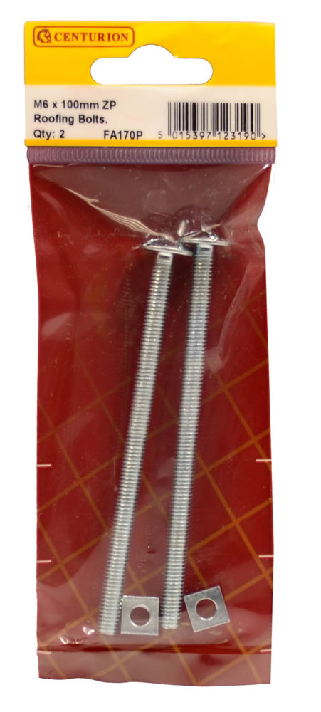 M6 x 100 mm Zinc Plated Roofing Bolts Packet of 2